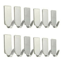 6/12PCS Self Adhesive Home Kitchen Wall Door Stainless Steel Holder Hook Hanger