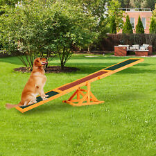 More details for pawhut new pet seesaw dog training agility equipment wooden toy exercise playing