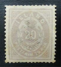 nystamps Iceland Stamp # 13 Mint Og H $35 J15y890