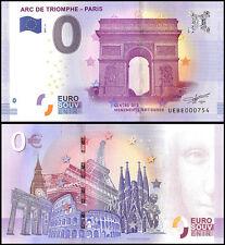 Zero (0) Euro Europe, 2017 - 2 (2nd Print), UNC, Arc De Triomphe Paris in France