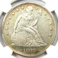 1869 Seated Liberty Silver Dollar $1 Coin - Certified NGC AU Detail - Rare Date!