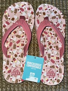 NEW Reef Flip Flops Size 6/7 Girl's Kids Pink