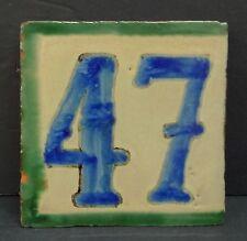 Mexican Vintage House Number Tile 47 Blue