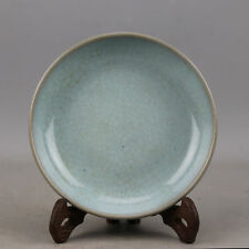 China antique Porcelain SONG RU kiln sky cyan glaze crack Brush Washers plate
