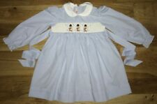 SILLY Goose 2 HAND Smocked EMBROIDERED Dress HOLIDAY Christmas SNOWMAN Blue EUC!