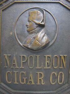 NAPOLEON CIGAR CO Antique Bronze Ad Sign Plaque Store Display PRICE BROS CHICAGO