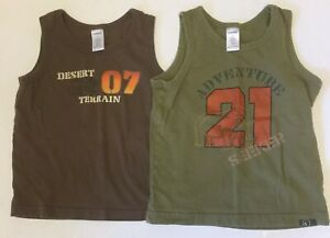 Gymboree Boys Tank Tops Safari Trek Line Size 4 Olive Green & Brown Lot of 2