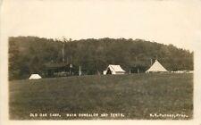 1930s Old Oak Camp Main Bungalow Tents New Hampshire Putney RPPC 6725