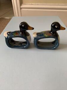 2 Ceramic Duck Shaped Napkin Holders