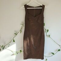 Cue Brown Satin Lined Wiggle Pencil Dress 8 XS Vintage-Inspired Work Evening