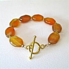 BUTTERSCOTCH CHALCEDONY NUGGETS & GOLD BEADED BRACELET ~ A BEAUTY!