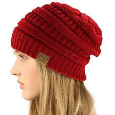 Unisex Winter Chunky Soft Stretch Cable Knit Slouch Beanie Skully Hat Cap Red