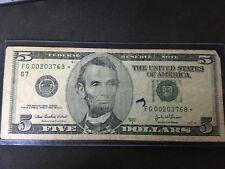 2003-a five dollar star note FG 00203768*