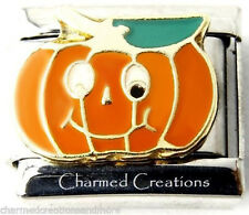 Jack-O-Lantern Silly Pumpkin Halloween 9mm Italian Charm Stainless Steel Link