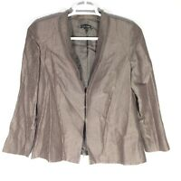Eileen Fisher Silk Blend Textured Jacket Blazer Silver Gray/Brown Women's Small