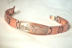 NEW! MENS 8.5 IN. COPPER AMERICAN EAGLE HEALING MAGNETIC THERAPY LINK BRACELET