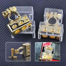 2pcs Gold 2 4 8 Gauge Positive & Negative Car Battery Terminal Clamp Connector