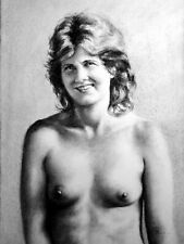 Anita Purdy topless portrait, draw on charcoal, A3 paper