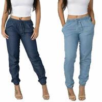 Trousers High Loose Women Jeans Waist Size Denim Elastic Casual Pants Plus Long