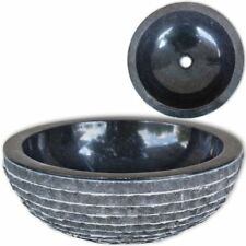 #bathroom Round Marble Stone Wash Basin Bowl Sink Above Counter Top 40cm Black
