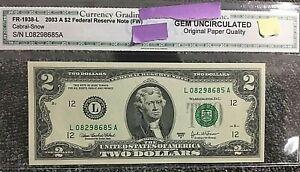 2003A PHILLY $2 FRN Fr1938-l FW (LA BLOCK)  GEM UNC. SLIGHT TURNED DIGIT ERROR
