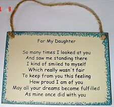"Beautiful Inspirational Poem ""FOR MY DAUGHTER"" great gift wood sign"