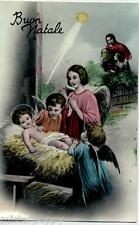 Angeli Bambini in adorazione di Gesù Natale Child Angels Glossy PC Circa 1930 2