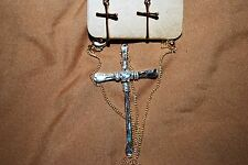 Lucky You Cross Necklace & Earrings Church Crucifix Religious Free Shipping