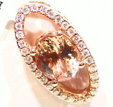 2.70CT 14K Gold Natural Morganite White Diamond Vintage Engagement Necklace Deco