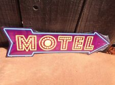 "Motel This Way To Arrow Sign Directional Novelty Metal 17"" x 5"""