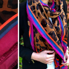Large Leopard Print Scarf Brown with Multi Colour Striped Animal Big Long Cotton