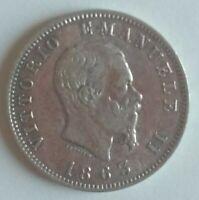 Moneda de Italia 1 Lira de Plata 1863, 5,1g