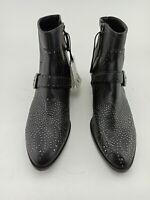 Zara women  Low heel Leather Biker Ankle boots Black Buckles & zipper. Size 8