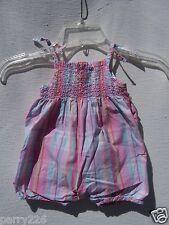 Oshkosh Baby Girls One Piece Plaid Pink Blue Yellow Romper XL (12)