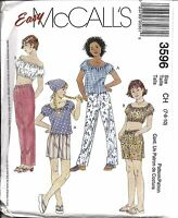 3596 UNCUT Vintage McCalls Sewing Pattern Girls Tops Pull on Pants Shorts Scarf