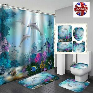 4Pcs Shower Curtain Waterproof Bathroom Bath Mat Lid Toilet Rug Non-Slip Set New
