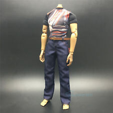 "1/6 Scale Avengers Black Printed T-Shirt+Blue Jeans Set For 12"" Action Figure"