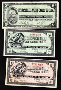5 CANADIAN TIRE MONEY BILLS -  2-5c, 2-10c & 1-50c CIRCULATED