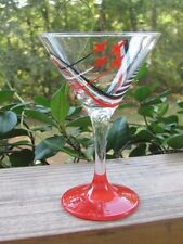 """5½"""" Martini Glass~Red~Black~Soaring Airplanes"""