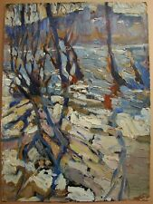 Russian Ukrainian Soviet Oil Painting postimpressionism landscape river spring