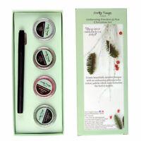 Embossing Powder Set 4 Powders Gold Green Red White & Dual Tip Embossing Pen