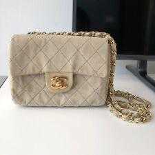 Authentic Chanel Mini Crossbody Bag Beige