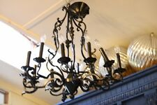 Black Iron Large Chandelier 12 Light Electric 6 Arms w 2 Lights Leaf Scroll Patt