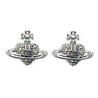 Costume Jewellery Crystal AB Silver Orb Stud Earrings Saturn Heart Cross E86