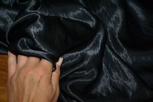 1.2m x 1.4m - BLACK KAT CRUSHED Satin Fabric, Sewing Material
