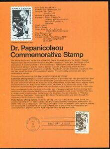 USPS 1978 First Day Issue Souvenir Page, Dr. Papanicolaou Commemorative