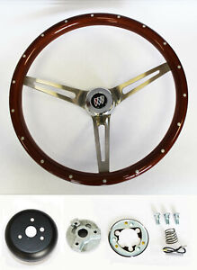 "67 68 Buick Skylark Riviera GS Wood Steering Wheel High Gloss Grip 15"" w/ rivets"
