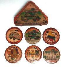 Ten Coasters Matching Leather Box Columbia VINTAGE LEATHER COASTERS Eclectic 70s Boho Barware Set Hand Tooled Leather Coasters