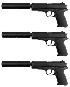 3x Softair Gun Airsoft Pistole + Schalldämpfer | 29633 Profi ABS | mit Munition