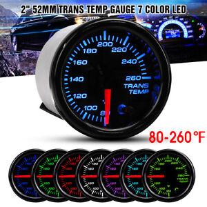 """52mm 2"""" BLACK 7-Color LED Display Electrical Transmission Trans Temp Gauge Kit"""